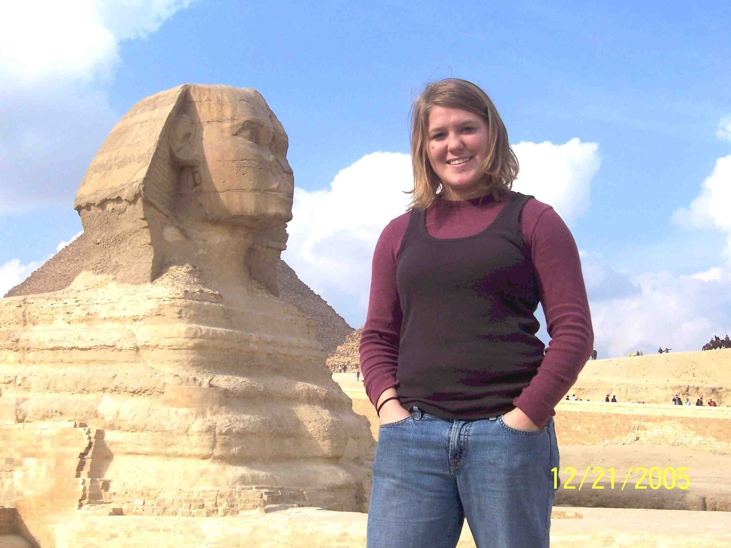 My Granddaughter Jenny at the Sphinx in Dec. 2005